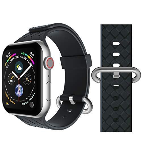 Band Compatible for Apple Watch 42mm 44mm, Seiaol Sport Bands Compatible iWatch Series 4, Series 3, Series 2, Series 1 Waterproof Adjustable Easy Installation Silicone Strap for Women Men