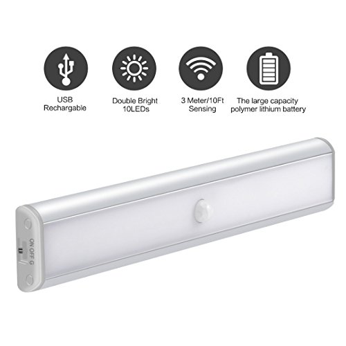 Wireless Motion Activated LED Light 10 LEDs with LED USB Rechargeable for Closet,Cabinet,Hallway,Washroom with USB Charging Port and Stick-on Anywhere with Magnetic Strip - (Battery Powered) (White) (Format Cabinet Lighting)