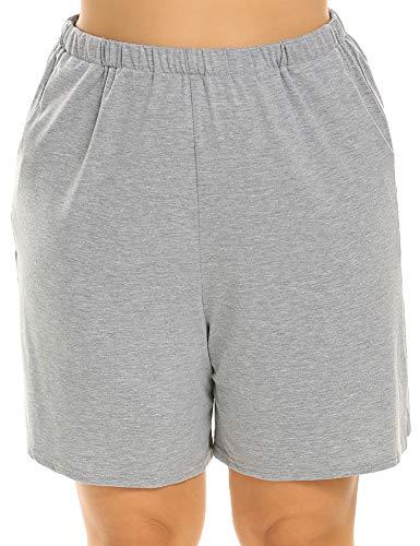 - IN'VOLAND Plus Size Shorts Soft Sleep PajamaShortsforWomen Casual Loose Comfy LadiesShorts withPockets Grey