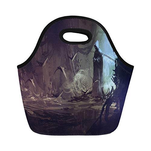 Semtomn Neoprene Lunch Tote Bag Watercolor Fantasy Dark Cloak in Mysterious Forest Wizard Sorcerer Reusable Cooler Bags Insulated Thermal Picnic Handbag for Travel,School,Outdoors, Work