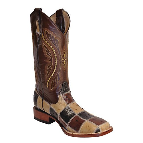 Ferrini Men's Ostrich Print Patchwork Cowboy Boot Wide Square Toe Tan US