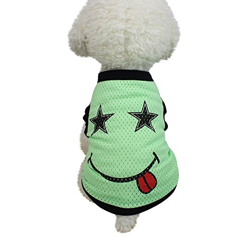 (As-long Classic Pet Cat Dog Vest T Shirt Clothing Summer Puppy Outdoor Sleeveless Clothes Apparel (XS, Green))