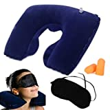 Inflatable Neck Travel Pillow Head Rest Cushion/Eye Mask/Earbuds for Holiday Flights & Sleeping