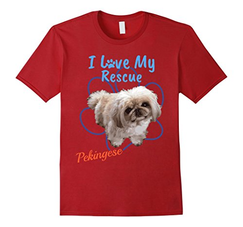 Mens I Love My Rescue Pekingese Cool Adopted Dog T-Shirt 3XL Cranberry
