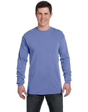 Ringspun Garment-Dyed Long-Sleeve T-Shirt (C6014)- FLO BLUE, M
