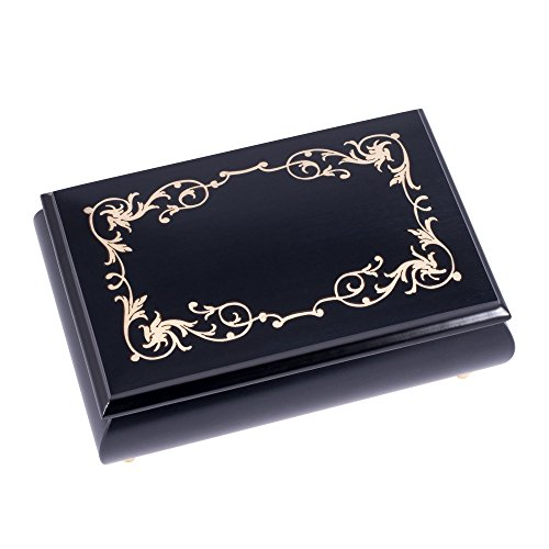 Pearl Filigree Italian Handmade Inlaid Black Hardwood Musical Jewelry Box - Plays Tune Clair de Lune by Splendid Music Box Co.