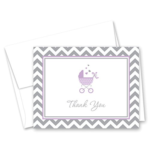 50 Cnt Lovely Purple Carriage Baby Shower Thank You Cards