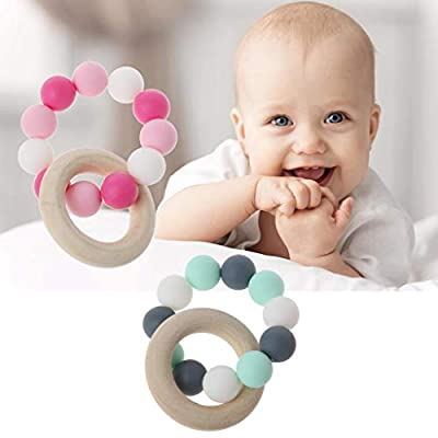 Yuanhaourty Baby Teething Toys Wooden Teether Silicone Chew Beads Nursing Bracelets Rattles Toys Teether Montessori Bracelets : Baby
