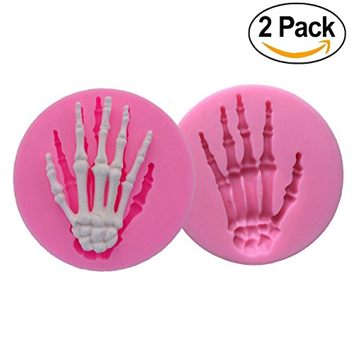 Forum Novelties 68999 2-Pack Skeleton Hand Fondant Halloween Cake Decorating Silicone Mould 2 Fimo Clay DIY Mold Tools (Random Color), one, white