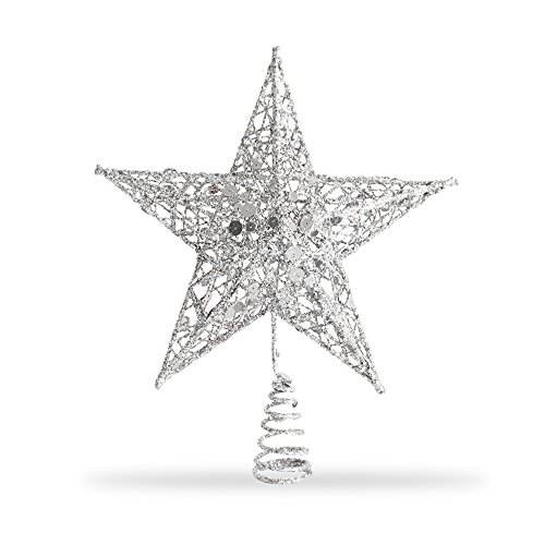 (Star Tree Topper, Exquisite Shimmery 8-inch x 6-inch Star Christmas Tree Topper Christmas Tree Decoration 5 Point Star Treetop Decor (Silver))