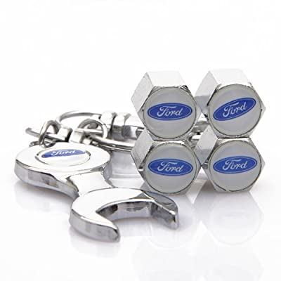 D&R Wrench Keychain Chrome Tire Valve Stem Caps for Ford: Automotive [5Bkhe1509209]