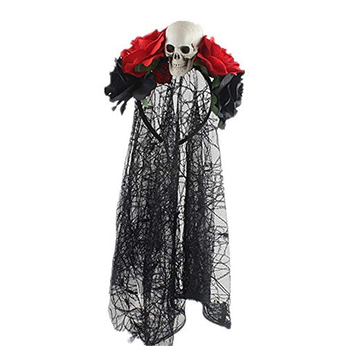 Pausseo Simulation Rose Black Lace Head Buckle Party Halloween Horror Headband Halloween Decoration Prop Party Supplies Hanging Ghost Witch Voice Rot Light Eyes - Halloween Decoration Prop