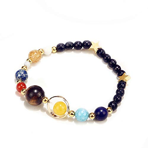 Solar System Eight Planets Bracelet Guard Stars Natural Stone Beads,New02 ()
