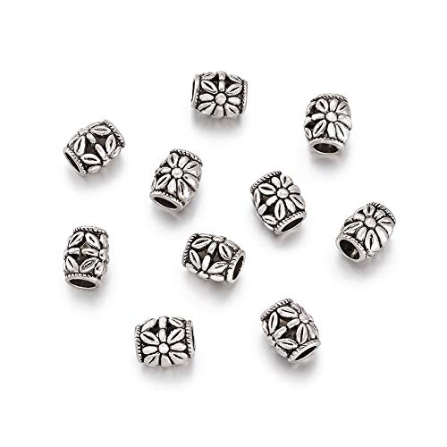 (FASHEWELRY 10PCS 10mm Antique Silver Barrel Flower Pattern Large Hole Spacer Loose Beads Fits European Bracelets Charm, Lead Free & Cadmium Free & Nickel Free)
