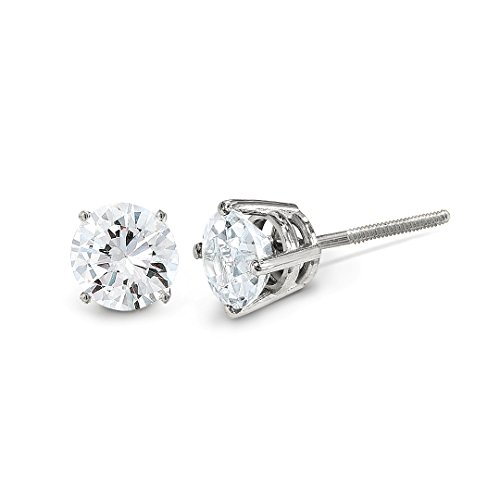 ICE CARATS 14kt White Gold .95ct Si3 G I Diamond Stud Thread On/off Post Ball Button Earrings Fine Jewelry Ideal Gifts For Women Gift Set From - Gold White Thread Diamond Earrings