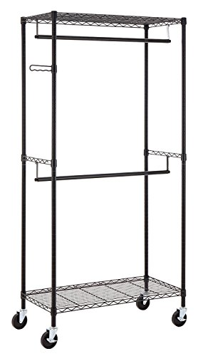 Finnhomy Heavy Duty Rolling Garment Rack Clothes Rack with Double Hanger Rods and Shelves, Portable Closet Organizer with Wheels, 1″ Diameter Thicken Steel Tube Hold Up to 300Lbs, Black
