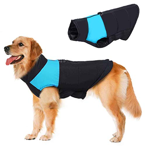 Dog Coat Vest Windproof Warm Dog Clothes Plus Size for Cold Weather Outdoor Extra Protection Down Jacket for Extra Large Dogs (L(Back:20.4',Chest:28.7'), Blue)