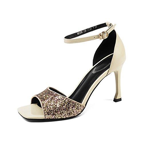 Tacones Mei Aguja Sandalias Mujer Rice White Tobillo Zapatos amp;s De Al fqrHpWBXq7