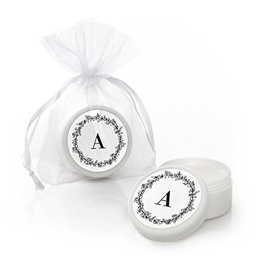 Custom Floral Monogram - Personalized Wedding Party Favors Lip Balms - Set of 12 White Personalized Lip Balm