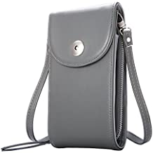 Crossbody Cell Phone Bag, M.Way Cellphone Wallet Purse PU Leather 3 Layers Storage Phone Pouch Women Handbag with Shoulder Strap for iPhone 6,7 Samsung S7 S6 Smartphone under 5.5 Inch Grey