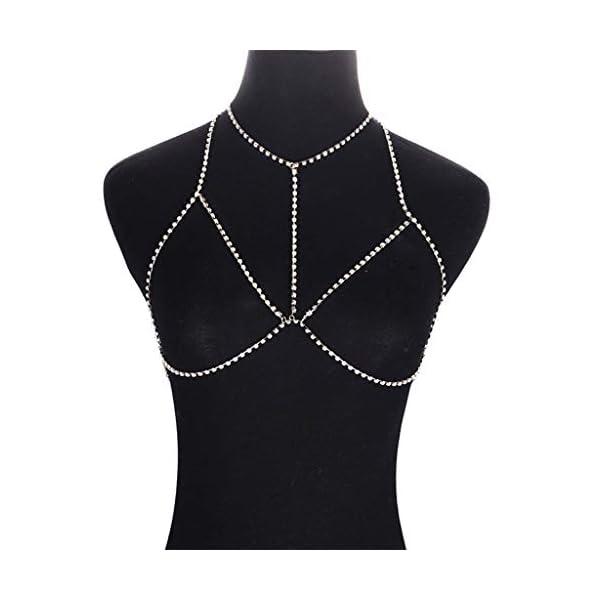 Aofocy Chaîne de corps de bikini de qualité supérieure soutien-gorge de poitrine en chaîne de soutien-gorge creux…