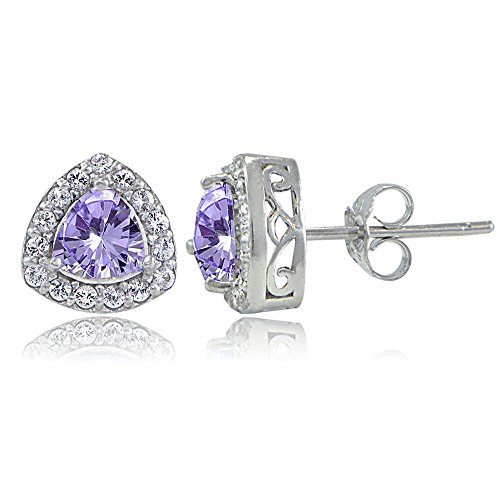 Sterling Silver Genuine Amethyst & White Topaz Trillion-Cut Stud Earrings