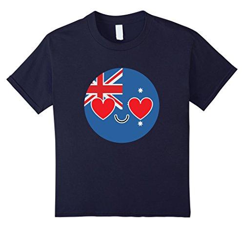[Kids Australia Emoji Heart Eye Australian Shirt National T-Shirt 6 Navy] (Oktoberfest Costumes Australia)