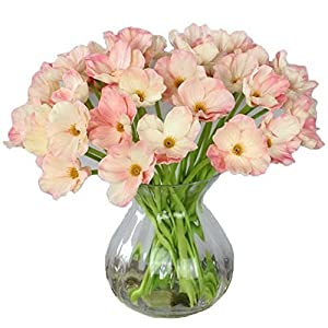 Gatton 10 PCS High Quaulity Fresh Artificial Mini Real Touch PU/Latex Corn Poppies Decorative Silk Fake Artificial Poppy Flowers for Holiday Bridal Bouquet Bridesmaid (Pink) | Model WDDNG - 1053 | 59