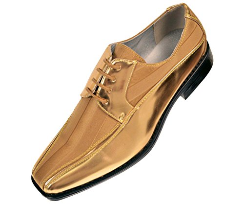Viotti Men's Formal Oxford Dress Shoe Striped Satin and Patent Tuxedo Classic Lace Up with or Without Tip Style 179/5205 Gold