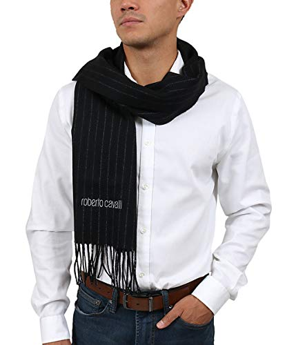 Roberto Cavalli ESZ066 05051 Black 100% Wool Brushed Pinstripe Mens Scarf for Mens