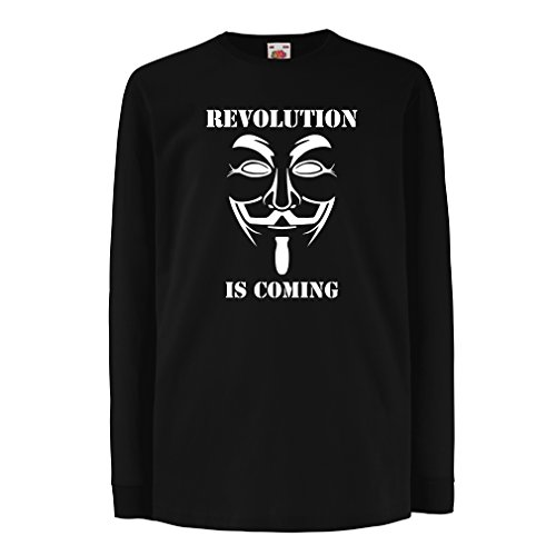 lepni.me Kids T-Shirt The Revolution is Coming - The Anonymous Hackers mask, V for Vendetta (5-6 Years Black White) ()