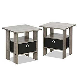 FURINNO Andrey End Table Nightstand Set, 2-Pack, French Oak Grey