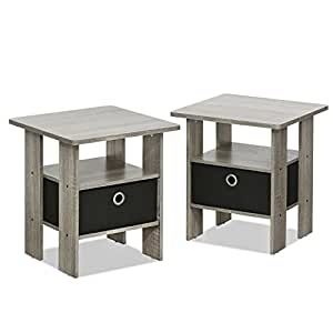 Furinno 2 11157gyw Petite End Table Bedroom Night Stand Set Of Two Kitchen Dining