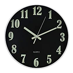 Ryuan 12 Inch Night Light Modern Wall Clock, Silent Non-Ticking Quartz Decorative Battery Operated Wall Clocks, Luminous Function Round Clock for Kitchen Living Room Office