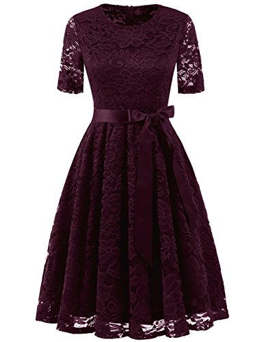 DRESSTELLS DresstellsShort Scoop Bridesmaid Floral Lace Dress Cocktail Formal Swing Dress Burgundy (Rockabilly Wig In Red)