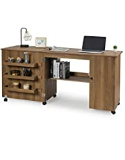 DORTALA Folding Sewing Table, Large Size Craft Cart with Storage Shelves and Lockable Casters, Rolling Craft Station Sewing Table for Apartment Home, Portable Storage Cabinet for Small Space, Natural