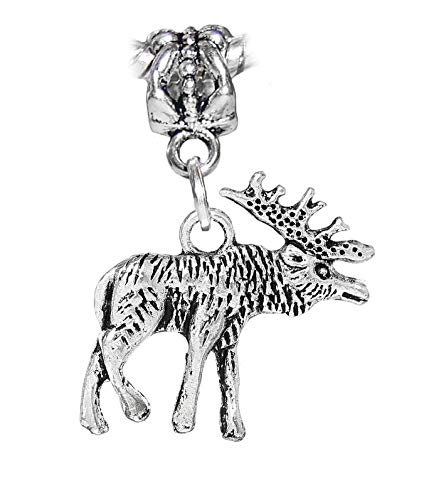 Reindeer Caribou Elk Moose Christmas Dangle Charm for European Bead Bracelets Jewelry Making Supply by Wholesale Charms