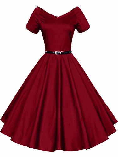 LUOUSE 40s 50s 60s Vintage V-neck Swing Rockabilly Pinup Ball Gown Party Dress, Wine Red, Large (40s And 50s)