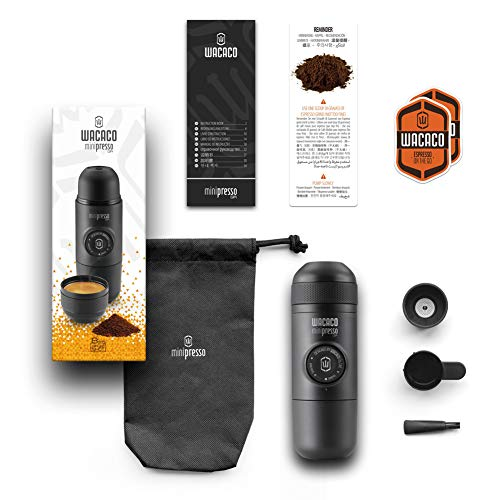Wacaco Minipresso GR, Portable Espresso Machine, Compatible Ground Coffee, Small Travel Coffee Maker, Manually Operated from Piston Action