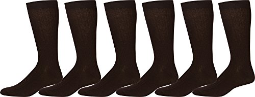 Sakkas Men's Cotton Blend Ribbed Dress Socks, 10-13 - Brown 6 Pack