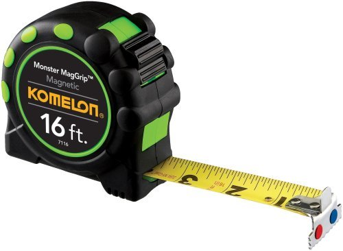 4 Pack Komelon 7116 16' x 1'' Monster MagGrip Rubberized Case, Magnetic Tip Tape Measure
