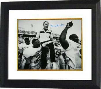 b854c5310 Signed Barry Switzer Picture - 16X20 BW Custom Framed Carried Off Field) -  Autographed College