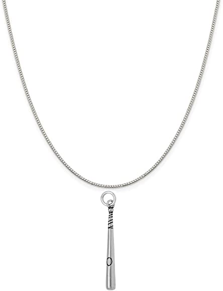 Sterling Silver Womens 1mm Box Chain 3D Female Girl Baseball Player Up To Bat Pendant Necklace