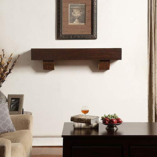 Duluth Forge 48-Inch Shelf Corbels-Chocolate Finish Fireplace Mantel Medium