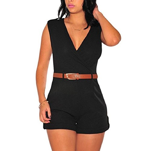 [JUST MODEL Women Sexy V Neck Buckle Up Sleeveless Short Pants Jumpsuit Rompers with Belt M Black] (Sexy Buckle)