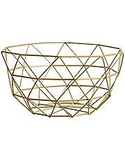 Nordic Creative Iron Collection Basket Fruit Basket Modern Fruit Plate Living Room Household Snack Storage Basket Fruit Bowls(Big Size Golden)
