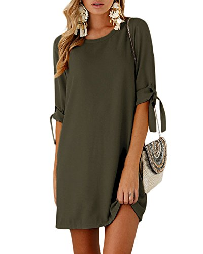 YOINS Women Mini Dresses Summer T Shirt Solid Crew Neck Tunics Self-tie Half Sleeves Blouse Dresses Army Green L