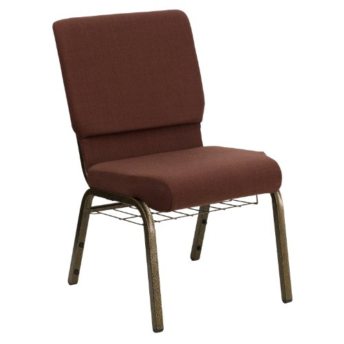 "18.5""W Church Chair in Brown Fabric with Cup Book Rack – Gold Vein Frame"