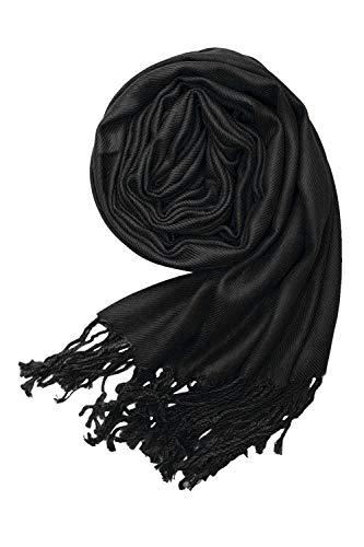 MBJ Womens Large Soft Cashmere Blended Shawls Wraps Light Scarf ONESIZE BLACK