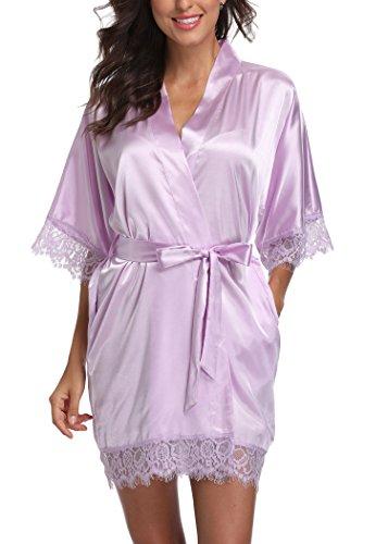 - Laurel Snow Short Satin Kimono Robes Women Pure Color Bridemaids Bath Robe With Lace Trim,Light Purple XL